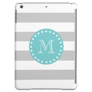 Gray White Stripes Pattern, Teal Monogram Case For iPad Air