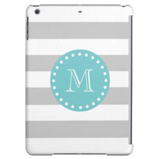 Gray White Stripes Pattern, Teal Monogram iPad Air Case