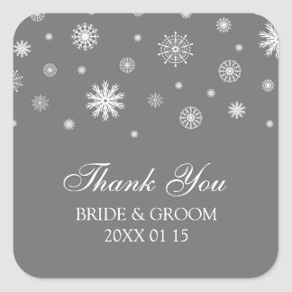 Gray White Thank You Winter Wedding Favor Tags Square Sticker