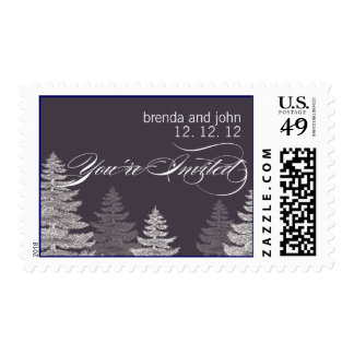 Gray White Trees Winter Wedding Postage