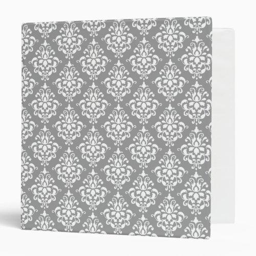 Gray White Vintage Damask Pattern 1 Binder