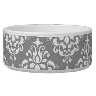 Gray White Vintage Damask Pattern 1 Dog Food Bowl
