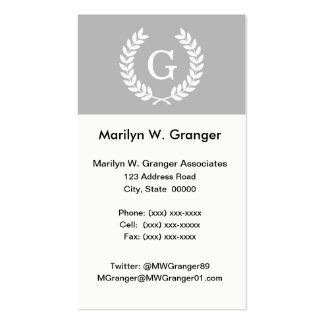 Gray White Wheat Laurel Wreath Initial Monogram Double-Sided Standard Business Cards (Pack Of 100)