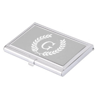 Gray White Wheat Laurel Wreath Initial Monogram Business Card Case