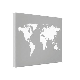 gray white world-map canvas print