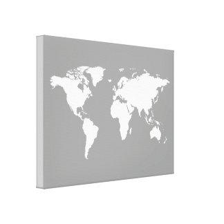 gray white world-map canvas print