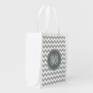 Gray Wht Chevron 7P, Charcoal Vine Script Monogram Reusable Grocery Bag