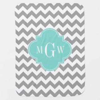 Gray Wht Chevron Aqua Quatrefoil 3 Monogram Baby Blanket