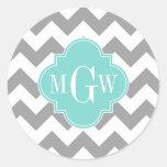 Gray Wht Chevron Aqua Quatrefoil 3 Monogram Classic Round Sticker