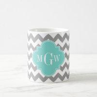 Gray Wht Chevron Aqua Quatrefoil 3 Monogram Coffee Mug