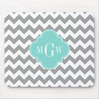 Gray Wht Chevron Aqua Quatrefoil 3 Monogram Mouse Pad