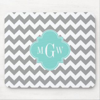 Gray Wht Chevron Aqua Quatrefoil 3 Monogram Mousepads