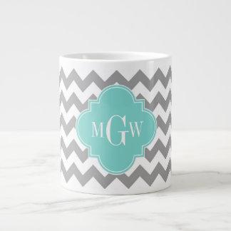 Gray Wht Chevron Aqua Quatrefoil 3 Monogram 20 Oz Large Ceramic Coffee Mug