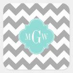Gray Wht Chevron Aqua Quatrefoil 3 Monogram Square Sticker