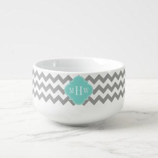 Gray Wht Chevron Aqua Quatrefoil 3 Monogram Soup Mug