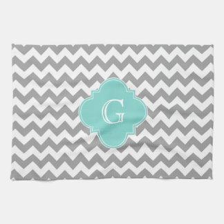 Gray Wht Chevron Aqua Quatrefoil Monogram Hand Towels