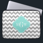 "Gray Wht Chevron Aqua Turq Quatrefoil 3 Monogram Computer Sleeve<br><div class=""desc"">Gray and White Chevron ZigZag Pattern, Aqua Turquoise Quatrefoil 3 Initial Monogram Customize this with a three initial monogram or change the design to add your name or other text. You can also change the font, adjust font size and font color, move the text to align the monogram letters, etc....</div>"