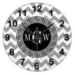 Gray Wht Chevron Black Greek Key 3 Monogram Wall Clock