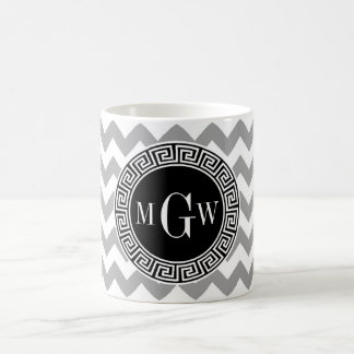 Gray Wht Chevron Black Greek Key 3 Monogram Coffee Mug