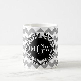 Gray Wht Chevron Black Greek Key 3 Monogram Coffee Mug