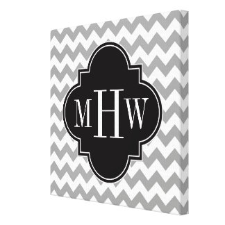 Gray Wht Chevron Black Quatrefoil 3 Monogram Canvas Print