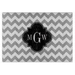 Gray Wht Chevron Black Quatrefoil 3 Monogram Cutting Boards
