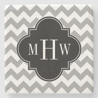 Gray Wht Chevron Black Quatrefoil 3 Monogram Stone Coaster