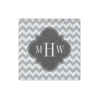 Gray Wht Chevron Black Quatrefoil 3 Monogram Stone Magnet