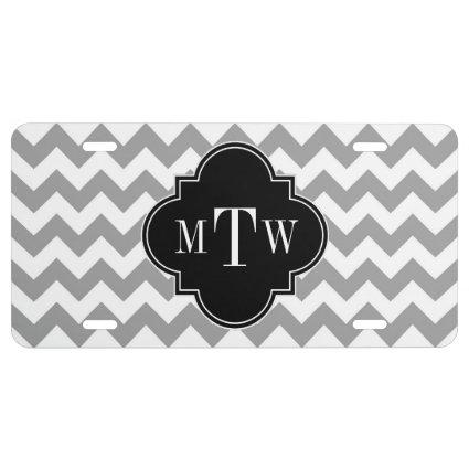 Gray Wht Chevron Black Quatrefoil 3 Monogram License Plate