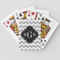 Gray Wht Chevron Black Quatrefoil 3 Monogram Playing Cards