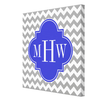 Gray Wht Chevron Cobalt Blue Quatrefoil 3 Monogram Canvas Print