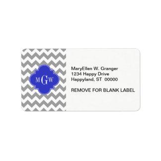 Gray Wht Chevron Cobalt Blue Quatrefoil 3 Monogram Label