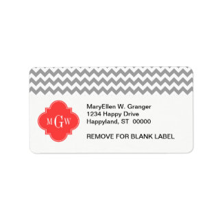 Gray Wht Chevron Coral Red Quatrefoil 3 Monogram Label