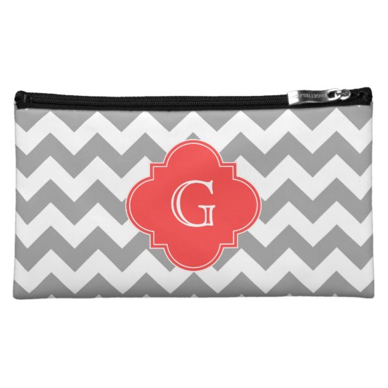 Gray Wht Chevron Coral Red Quatrefoil Monogram Cosmetic Bag