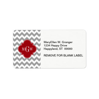 Gray Wht Chevron Cranberry Quatrefoil 3 Monogram Address Label