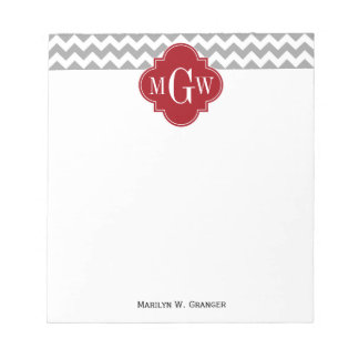 Gray Wht Chevron Cranberry Quatrefoil 3 Monogram Scratch Pads