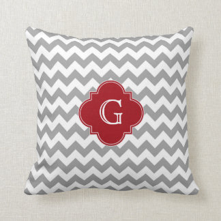 Gray Wht Chevron Cranberry Red Quatrefoil Monogram Throw Pillow