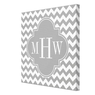 Gray Wht Chevron Dk Gray Quatrefoil 3 Monogram Canvas Print