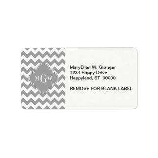 Gray Wht Chevron Dk Gray Quatrefoil 3 Monogram Personalized Address Labels