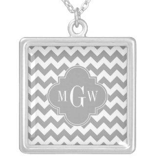 Gray Wht Chevron Dk Gray Quatrefoil 3 Monogram Jewelry