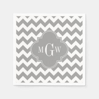 Gray Wht Chevron Dk Gray Quatrefoil 3 Monogram Paper Napkin
