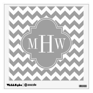 Gray Wht Chevron Dk Gray Quatrefoil 3 Monogram Wall Skin