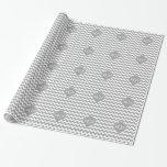 Gray Wht Chevron Dk Gray Quatrefoil 3 Monogram Gift Wrapping Paper