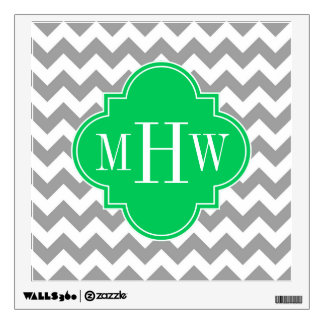 Gray Wht Chevron Emerald Quatrefoil 3 Monogram Wall Decal