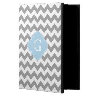 Gray Wht Chevron Lt Blue Quatrefoil Monogram Case For iPad Air