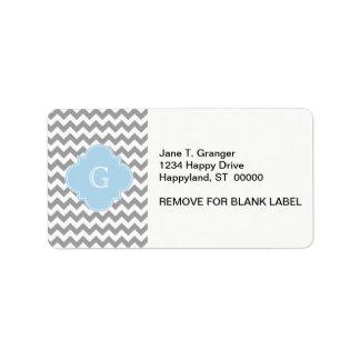Gray Wht Chevron Lt Blue Quatrefoil Monogram Label