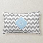 Gray Wht Chevron Lt Blue Quatrefoil Monogram Pillow