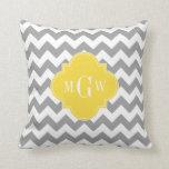 Gray Wht Chevron Pineapple Quatrefoil 3 Monogram Throw Pillows
