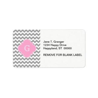 Gray Wht Chevron Pink Quatrefoil Monogram Label