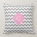 Gray Wht Chevron Pink Quatrefoil Monogram Throw Pillow